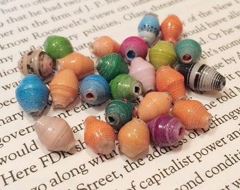 10 Colorful Paper Beads / Hand Rolled Paper Beads / Oval Beads / Recycled Paper Beads / African Multi Colored Beads / 18 mm / BE22