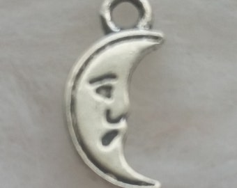 BULK Petite Crescent Moon Face Charms - Package of 25