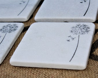 Wildflower Coasters, Dandelion Coasters, White Carrara Marble Tiles, Stamped Drink Coasters, Absorbent Stone Tiles, Summer Decor