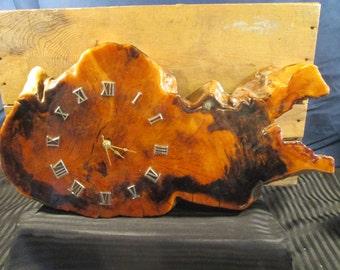 Vintage Wood Slab Varnished Clock Rustic. Free Shipping.