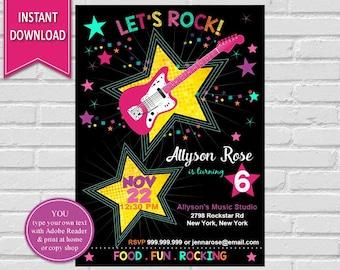 Rockstar Invitation | Rockstar, Rockstar Birthday, Rock Star Invitation, Rockstar Party, Guitar, Rock Star Birthday Rock Star, Girl Birthday
