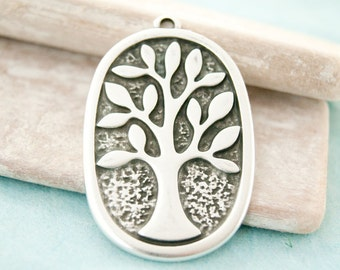 1pcs. tree of life xxl 4,7cm antique silver  #3912