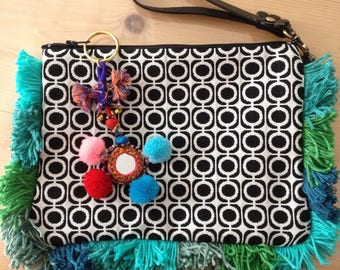 Pouch Cappadocia with bicycle, handbag, black and white, blue/green tassels.