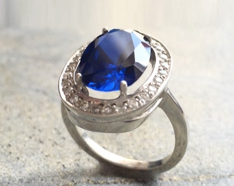Sapphire Ring, Antique Ring, Princess Diana Ring, Vintage Ring, Antique Sapphire Ring, Antique Rings, Solid Silver Ring, Blue Vintage Ring