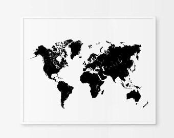 World Map Black Print, Black Map, Black Map of the World Wall Art,  Map Wall Decor, Trendy Art, Black Art Print, Map Art