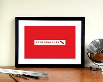 "Nottingham Forest A3 Minimalist Graphic Design Art Print - Trent End ""Refreshments"""