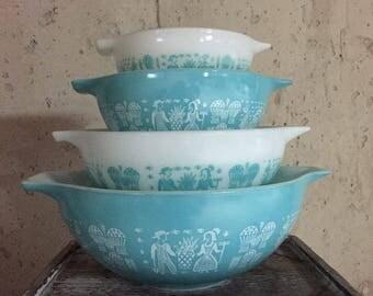 Pyrex Butterprint, Cinderella Bowls, 4 Bowls, Vintage Pyrex, MidCentury Kitchen, Vintage Mixing Bowls, Aqua Dishes, Pyrex Set, Save 30%