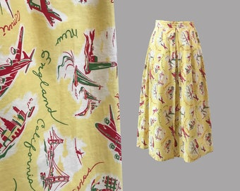 1940s Novelty Airline Print Cotton Skirt