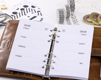 Calendar inserts 2018 Personal 1W2S (notes bottom right)-Planner inserts personal 1W2P 2018 Filofax 0339-pe-ka