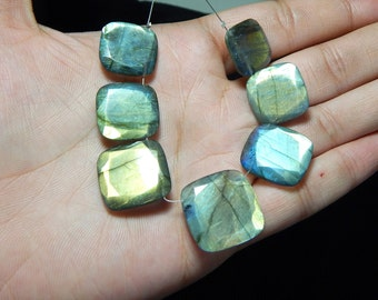 Multi Flash Labradorite Faceted Square Beads 100% Natural Gemstone Size 21 To 17.mm Approx 1 string - 7.pcs
