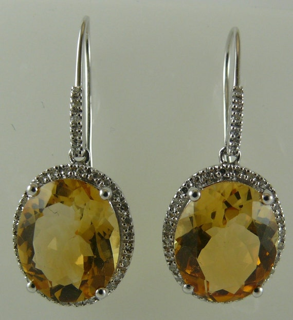 Citrine 8.03ct Earring with Diamonds 0.21ct 18k White Gold