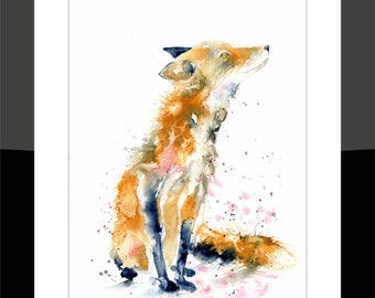 SkinnyDaz -A3 Red Fox Print of my Original Watercolour Painting - Open Edition