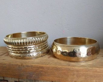 VINTAGE brass bangle bracelets with beautiful hammer blow and designs. Both loose or if set to order! WIDE = SOLD