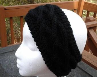 Black Cabled Headband, Earwarmer, Handknit headband, Women's headband, Girl's earwarmer