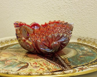 L.E Smith ruby red irridesent carnival glass bowl art deco sawtooth edge bowl comit in the stars