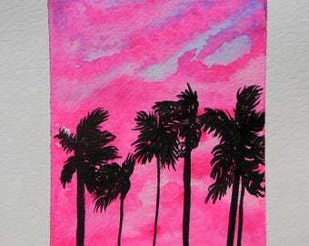 Original Watercolor painting - Prints - Sunset - Palm Trees