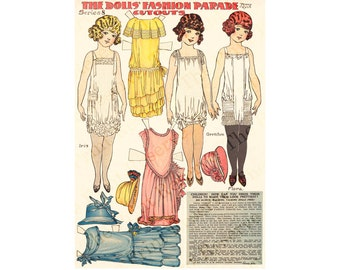 Printable Paper Dolls Angel Family Penny Ross Fashion Parade Series 8 Instant Digital Download 1920s Newspaper Paper Dolls