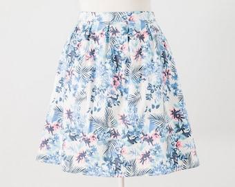 Box Pleat Skirt, Floral Print Skirt, High Waist Skirt, Skirt With Pockets, Printed Cotton Skirt, Womens Skirt, Short Skirt, Summer Skirt