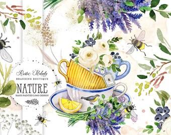 Lavender Logo Design, Boutique logo, Teacup Logo Design, Watercolor logo, Bee Logo Design, Honey Logo, Tea Boutique Logo