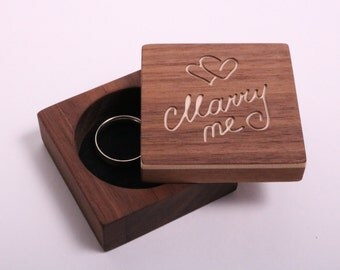 Ring box for marriage application, ring box wood, Ring box engagement ring, marry me box wood for engagement, marriage application & wedding