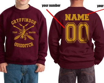 BEATER - Custom Back, Gryffindor Quidditch team Beater printed on Youth / Kids Crewneck Sweatshirt