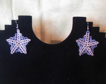 Snowflake Earrings, Beads snowflake Earrings,  Christmas snowflake earrings, Silver Snowflake Earrings, Christmas earrings, snowflake
