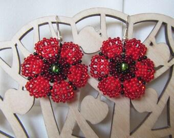 Poppy Earrings, Poppy beads Earrings, Crochet earrings Cornflowers, Daisy flowers earrings, Summer earrings, Cornflowers earrings, Daisy