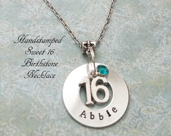 16th Birthday Handstamped Birthstone Necklace, Sweet 16th Birthday Gift, Gift for Girl Turning 16, Birthday Gift for Teenage Girl, Daughter
