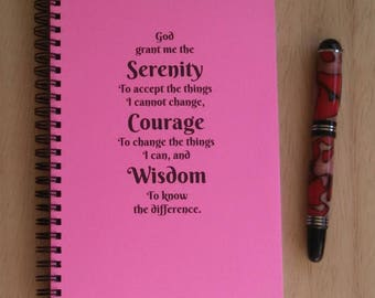 Spiral Journal; Wire Bound Blank Notebook; Custom Writing Journal, Small Sketchbook; Pick the Color; Serenity Prayer