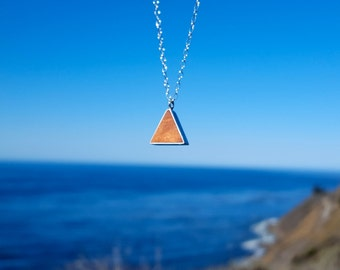 Redwood Necklace, Wood Necklace, Triangle Necklace, Wood Jewelry, Jewelry made of Reclaimed Redwood & Silver, Modern, Minimal, Ethical