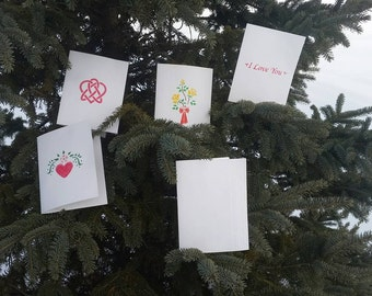 Love Greeting Cards Group 1; Set of 5; blank inside