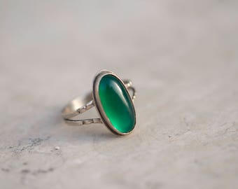 Medieval style 925 Silver Rings with Big Green Agate