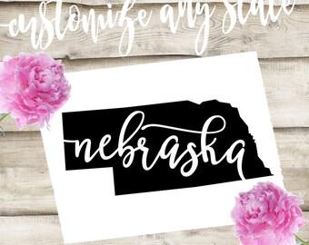 Nebraska Custom State Laptop / Phone / Car Decal