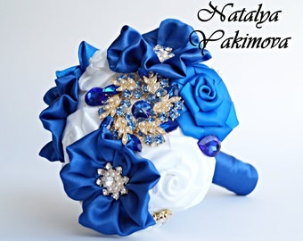 Toss bouquet, Bridesmaid's bouquet, Blue White, mini bouquet, Wedding Accessories