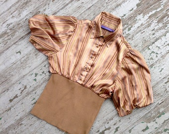 Retro Disco Satin Blouse Medium // Striped Satin Poofy Sleeve Chinched Waisted Awesome Blouse // Caramel Colored 70s 80s Inspired