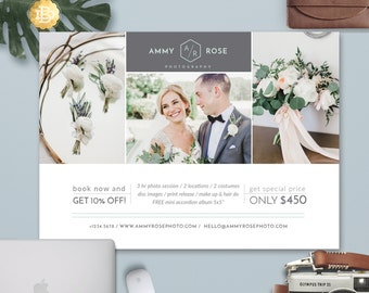Wedding Couple Engagement Mini Session Template Design, Mini Session Marketing Card Template for Photographers - INSTANT DOWNLOAD - MS018