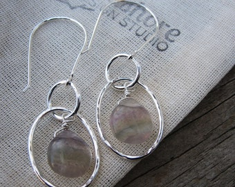 Banded fluorite and silver dangle earrings OOAK // ready to ship
