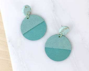 Statement earrings, blue earrings, dangle earrings, leather earrings, polymer clay jewelry, long earrings, gift for women, more colors