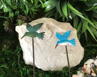 Miniature Hummingbird Pick - Choice of Dark Green/Teal or Bright Blue/Turquoise