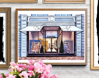 Chanel, Chanel store, Chanel Paris, Chanel print, Chanel illustration, fashion illustration, fashion, artwork, watercolor art, home print