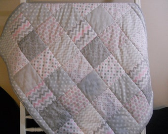 Flannel Backed Pink/Grey Baby Quilt