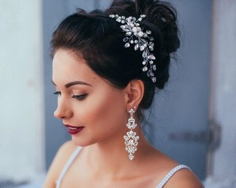 Wedding earrings bridal earrings Wedding jewelry wedding accessories Bridal jewelry Bridal accessories Vintage earrings Crystal Earrings