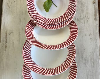 Set of 5 vintage French ironstone soup plates