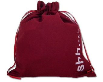 "Della Q Edict Project Bag ""Shh..I'm Counting"" DellaQ Drawstring Bag Della Q Edict Pouch Della Q Edict Project Pouch Red Knitting Bag Crochet"