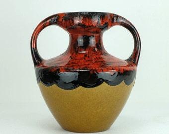double handled 1960's 1970's fat lava VASE marei keramik WGP
