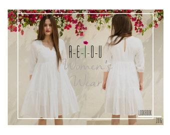 Organic white bohemian dress