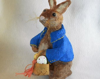 Easter Bunny, Spring Centerpiece, Peter Rabbit, OOAK Paper Mache Rabbit, Prim Bunny, Folk Art Bunny