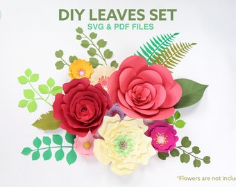 DIY Leaves Set for Giant Paper Flowers | SVG and PDF files