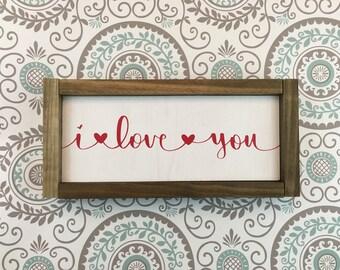 i love you framed sign hand lettered
