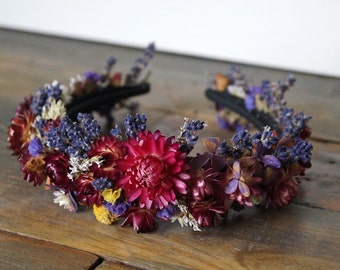 Dried Flower Crown Tiara wedding wreath Dried Floral Headband Bridal Crown Prom School Floral Head Wreath Hair Accessories sweet sixteen